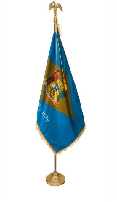 Delaware flag, pole, & stand set