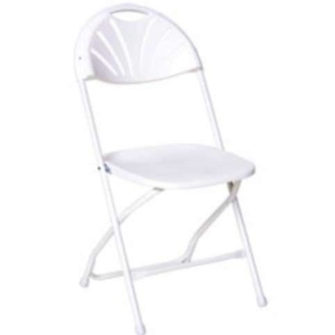 Chair, white fanback folding